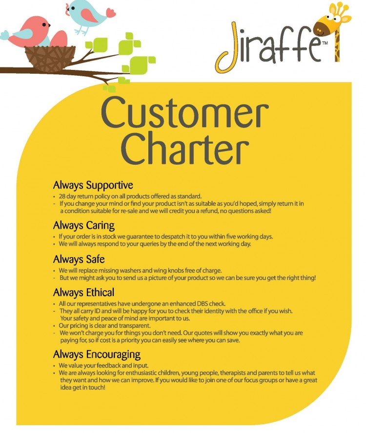 Jiraffe customer charter jiraffe for Customer care charter template
